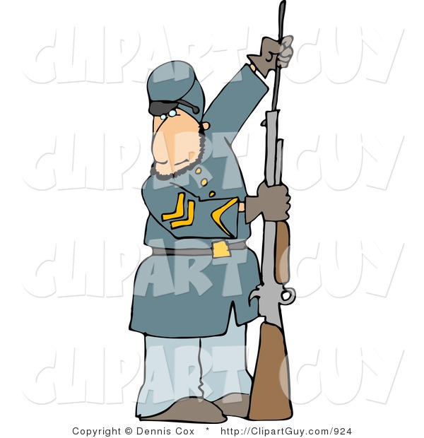 Clip Art of a Caucasian Civil War Soldier Loading His Rifle