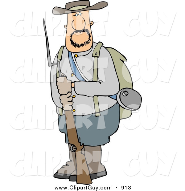 Clip Art of a Caucasian Confederate Army Soldier Holding a Rifle with a Bayonet