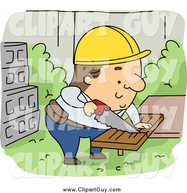 Clip Art of a Caucasian Contractor Builder Sawing Wood