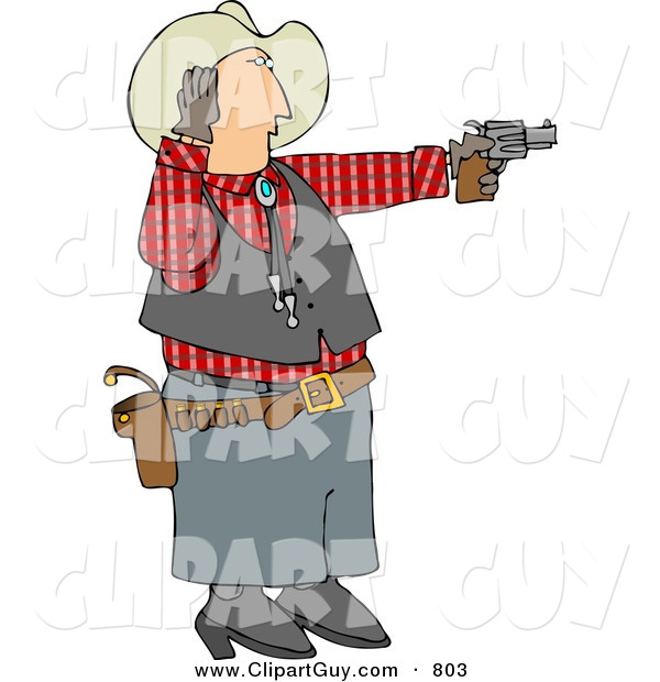Clip Art of a Caucasian Cowboy Covering His Ear While Shooting a Loud Gun