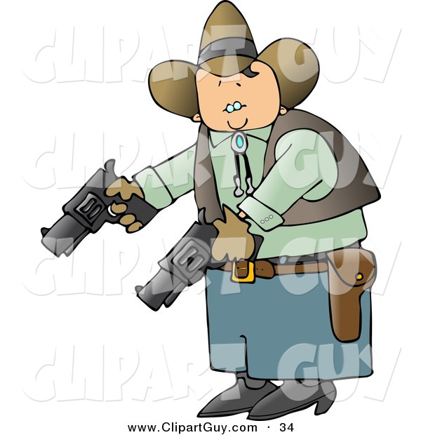 Clip Art of a Caucasian Cowboy Holding and Pointing Two Pistols Towards the Ground