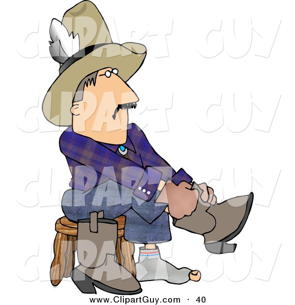 Clip Art of a Caucasian Cowboy Putting Boots on Feet