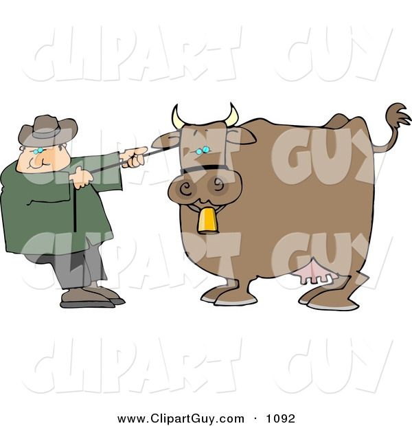 Clip Art of a Caucasian Cowboy Rancher Trying to Move One of His Cow's