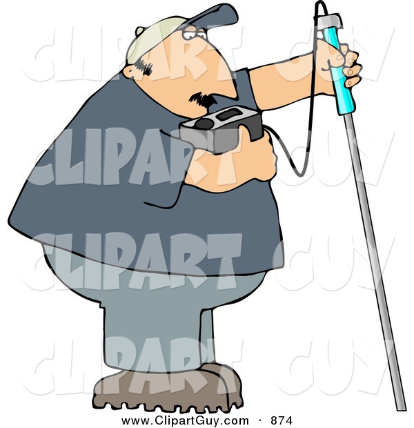 Clip Art of a Caucasian Gas Checker Using a Combustible Gas Detector
