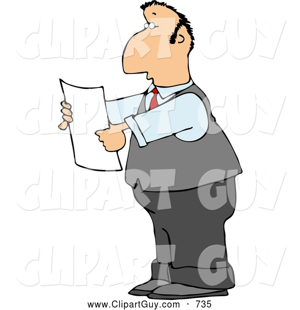 Clip Art of a Caucasian Lawyer Reading an Important Legal Document