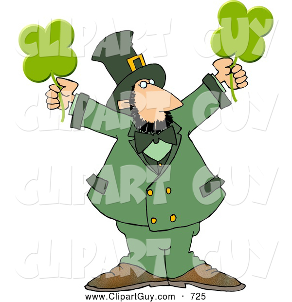 Clip Art of a Caucasian Leprechaun Holding Four Leaf Clovers