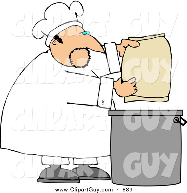 Clip Art of a Caucasian Male Bake Making Bread