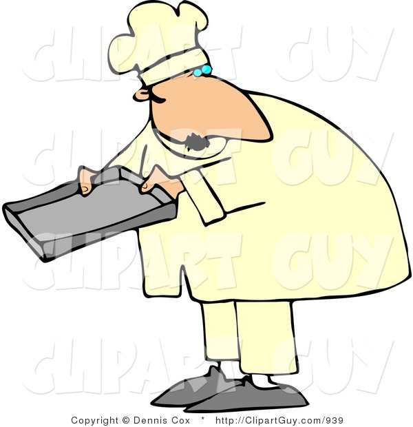Clip Art of a Caucasian Male Baker Holding a Pan