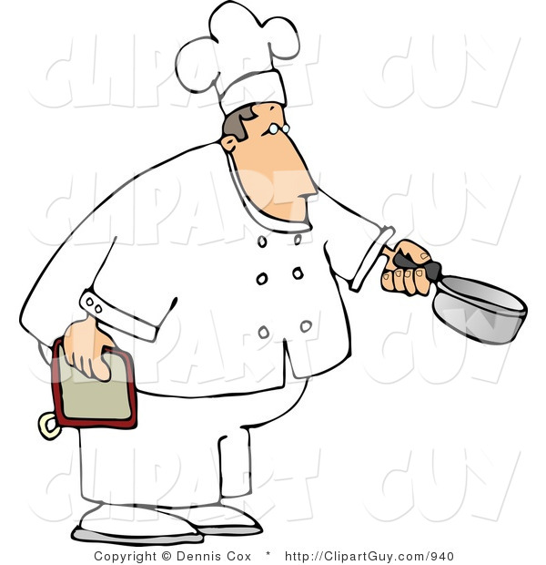 Clip Art of a Caucasian Male Chef Holding a Cooking Pot