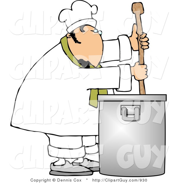 Clip Art of a Caucasian Male Chef Stirring a Large Pot of Soup with a Spoon