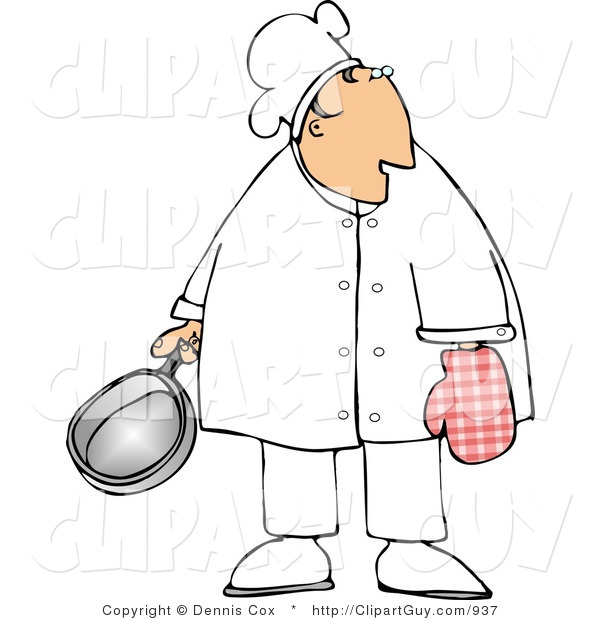 Clip Art of a Caucasian Male Chef Wearing an Oven Mitten and Holding a Cooking Pot