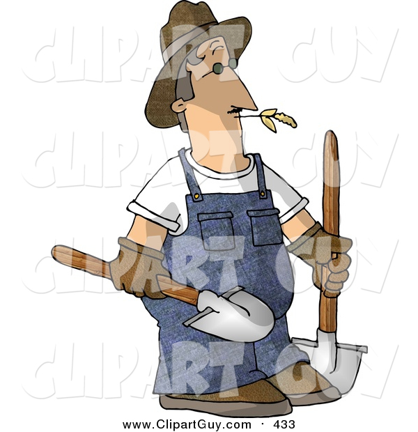 Clip Art of a Caucasian Male Farmer Carrying Two Rounded Tip Shovels