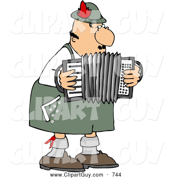 Clip Art of a Caucasian Male German Accordion Player Playing Music by Himself