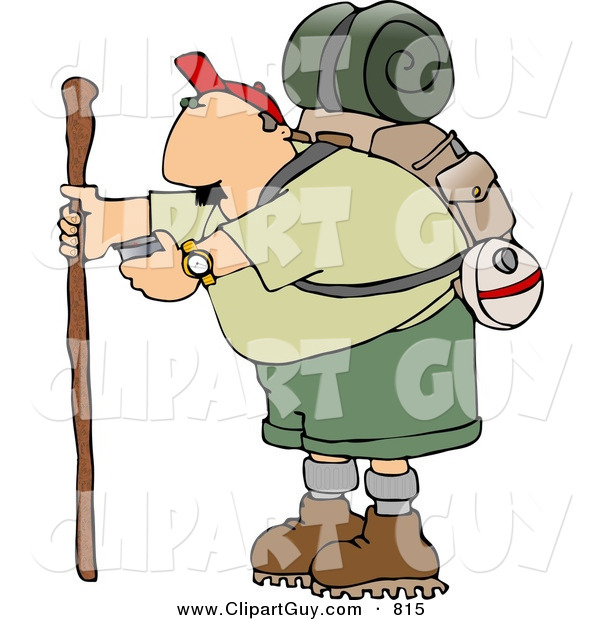 Clip Art of a Caucasian Male Hiker Checking His Compass