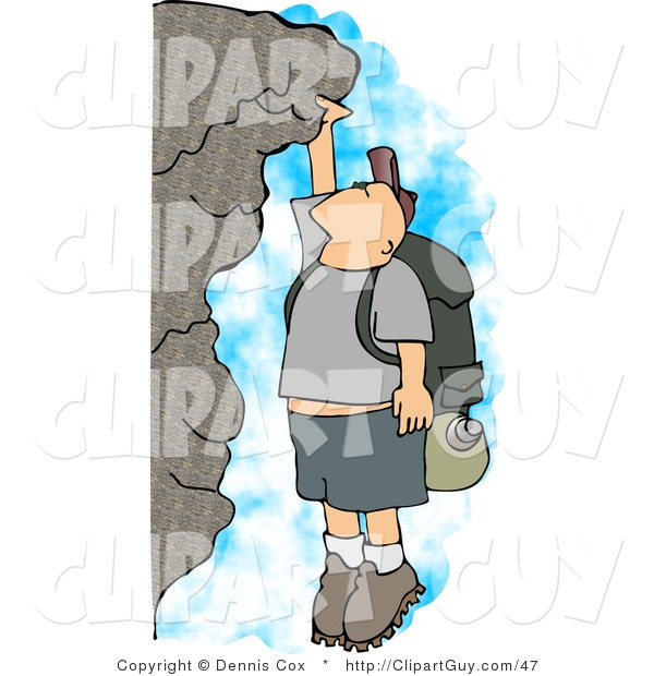 Clip Art of a Caucasian Male Hiker Hanging on a Mountainside Cliff