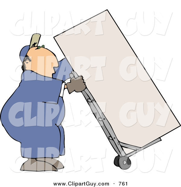 Clip Art of a Caucasian Male Mover Moving a Heavy Refrigerator/Freezer with a Dolly