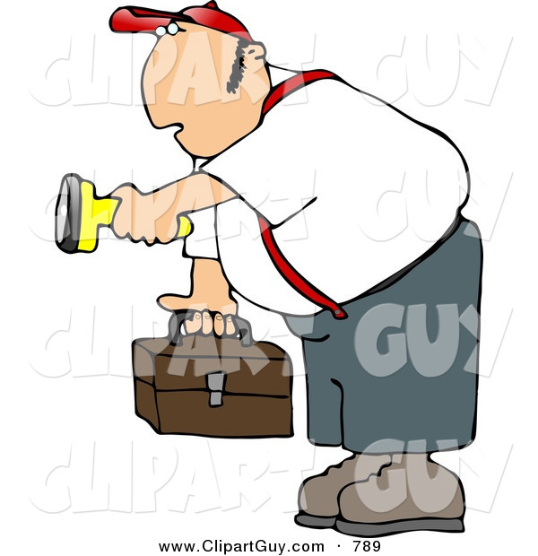 Clip Art of a Caucasian Male Worker Carrying a Toolbox and Pointing a Flashlight in the Dark