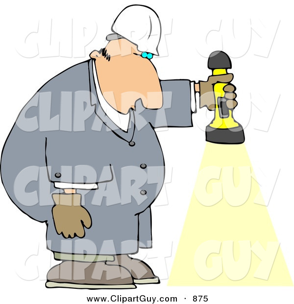 Clip Art of a Caucasian Male Worker Shining a Flashlight Towards the Ground