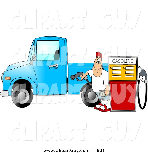 Clip Art of a Caucasian Man at the Gas Station Pumping Diesel Fuel into His Pickup Truck