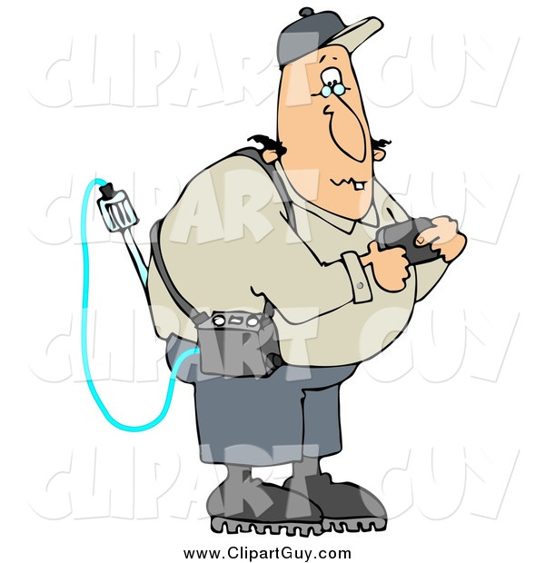 Clip Art of a Caucasian Man Reading a Gas Detector Pager While Working on the Job