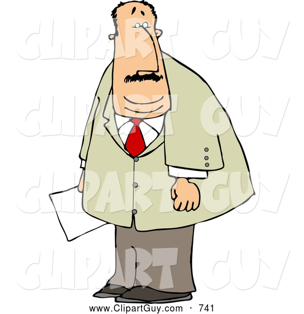 Clip Art of a Caucasian Obese Businessman Holding a Document in His Hand