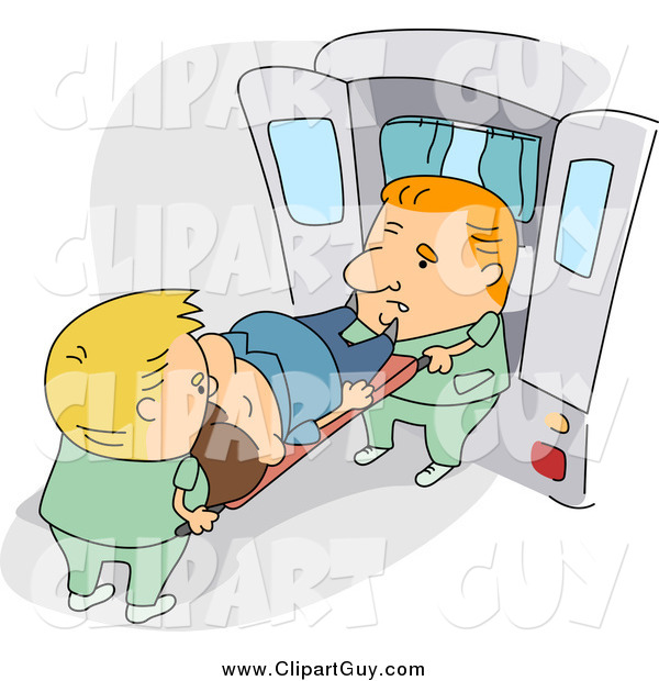 Clip Art of a Caucasian Paramedics Loading a Patient into an Ambulance