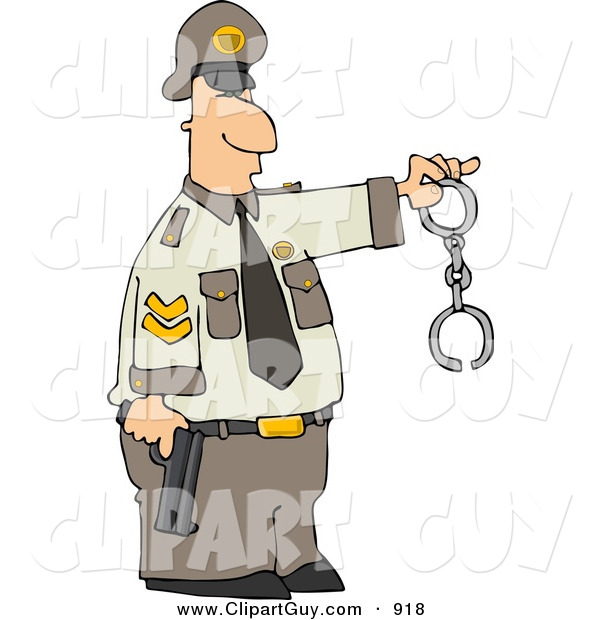 Clip Art of a Caucasian Policeman Holding a Pistol and Handcuffs