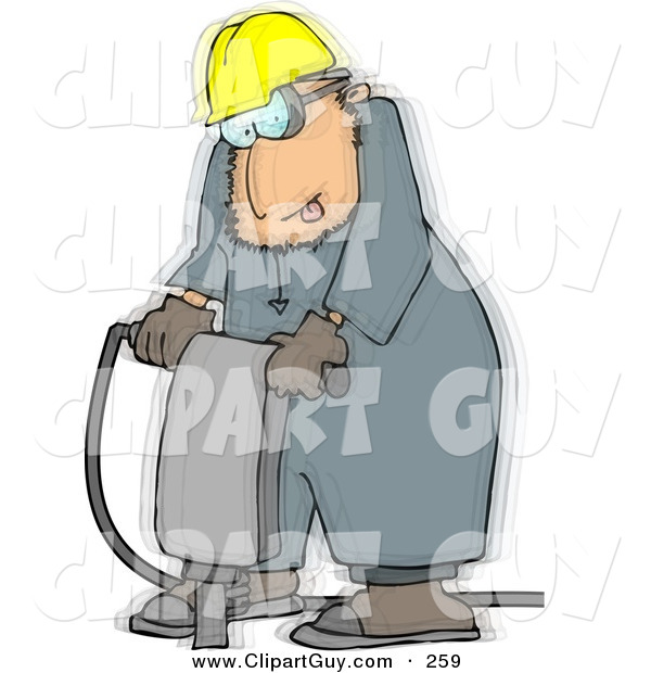 Clip Art of a Caucasian Vibrating Worker Operating a Portable Jackhammer