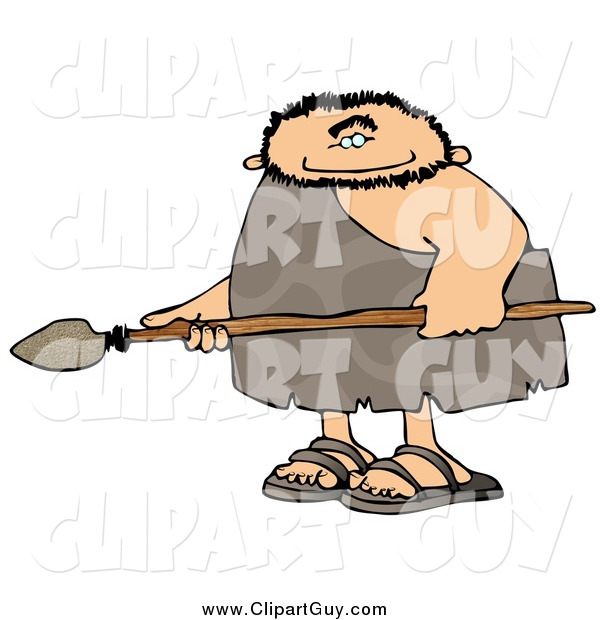 Clip Art of a Caveman Holding a Spear
