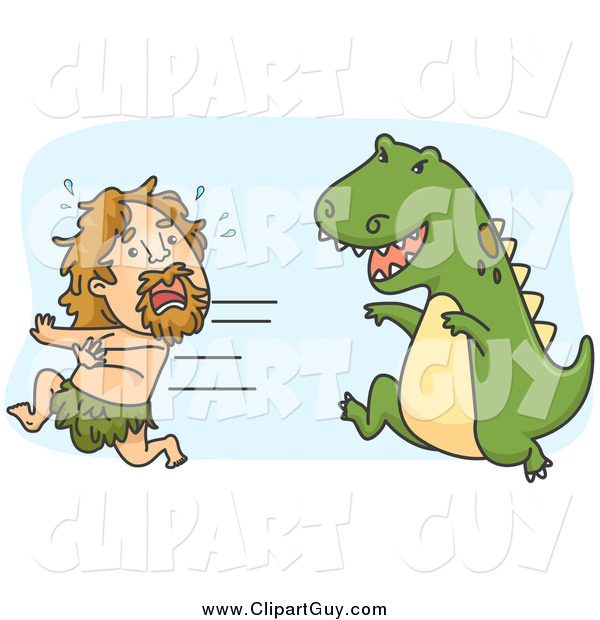 Clip Art of a Caveman Running from a Hungry Dinosaur
