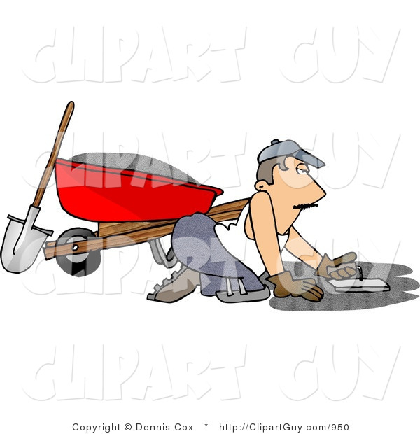 Clip Art of a Cement Layer Man Spreading Cement on the Ground