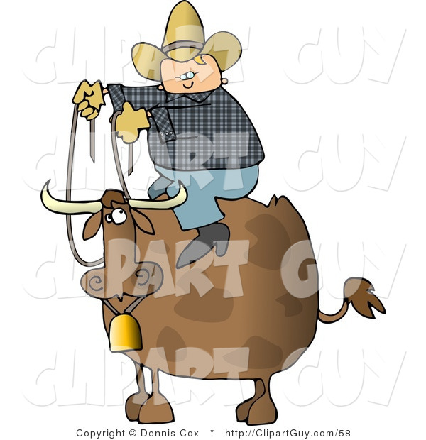 Clip Art of a Chubby Cowboy Sitting on the Back of a Bull with Horns and a Bell