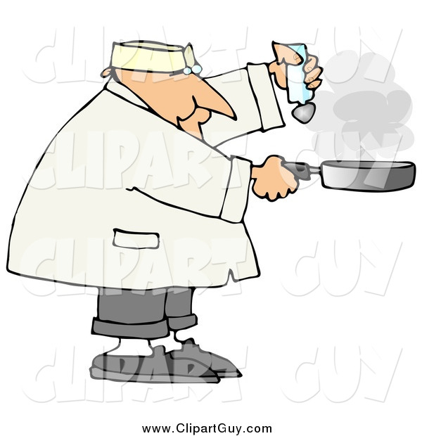 Clip Art of a Chubby White Male Chef Salting Food in a Frying Pan