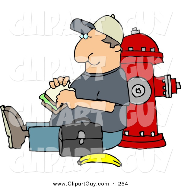 Clip Art of a Content Male Worker Eating His Lunch Outside Against a Fire Extinguisher