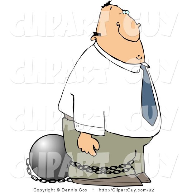 Clip Art of a Convicted Businessman Wearing a Ball and Chain on His Ankle