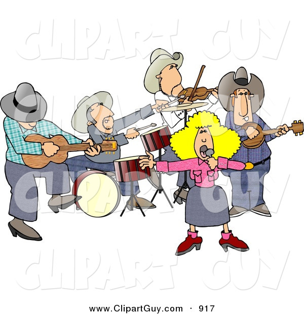 Clip Art of a Country Western Band Playing Country Music on White