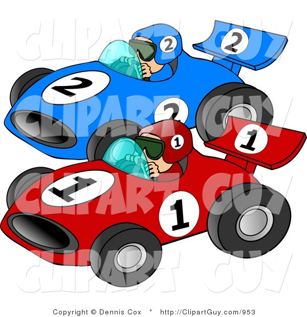 Clip Art of a Couple of Cars Racing Each Other down a Speedway