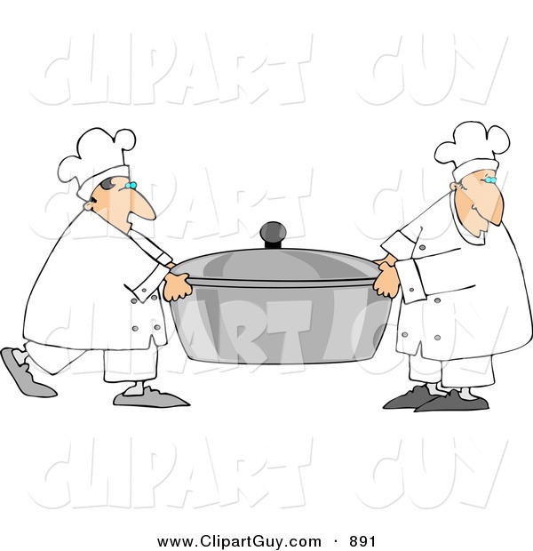Clip Art of a Couple of Chefs Carrying a Large Oversized Pot of Food