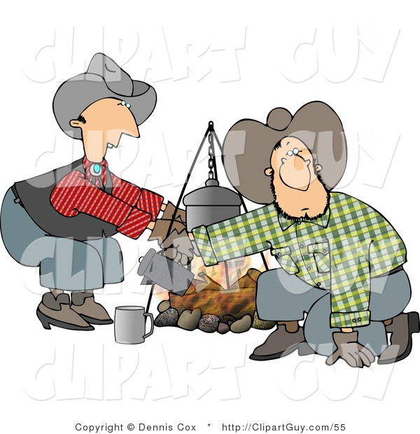 Clip Art of a Cowboy and Cowgirl Crouched Beside a Campfire