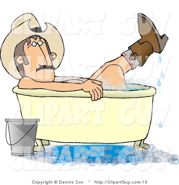 Clip Art of a Cowboy Bathing in His Boots - Royalty Free