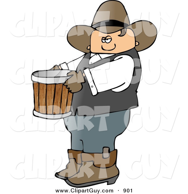 Clip Art of a Cowboy Farmer Carrying an Empty Bucket to the Left
