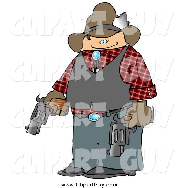 Clip Art of a Cowboy Holding Two Loaded Guns