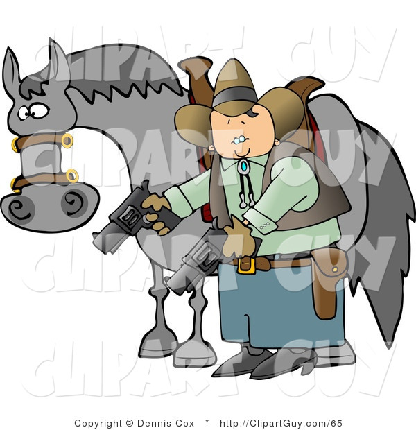 Clip Art of a Cowboy Man Standing Beside His Horse and Pointing Guns Towards the Ground
