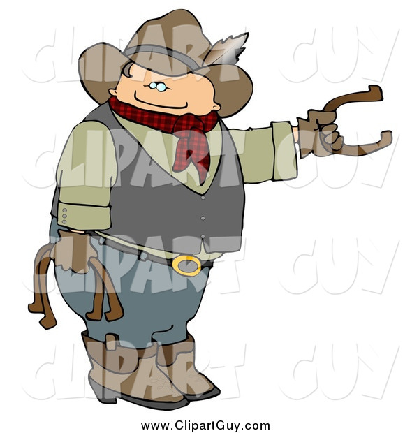 Clip Art of a Cowboy Playing Horseshoes
