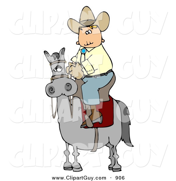 Clip Art of a Cowboy Riding High on a Gray Horse to the Left