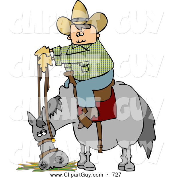 Clip Art of a Cowboy Sitting on His Stubborn Horse Eating Hay
