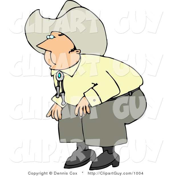 Clip Art of a Cowboy Squatting down