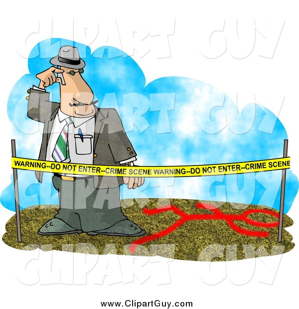 Clip Art of a Crime Scene Investigator Looking at the Clues