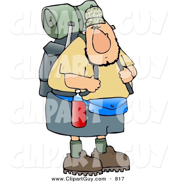 Clip Art of a Curious and Adventurous Male Hiker Carrying Backpack and Camping Gear
