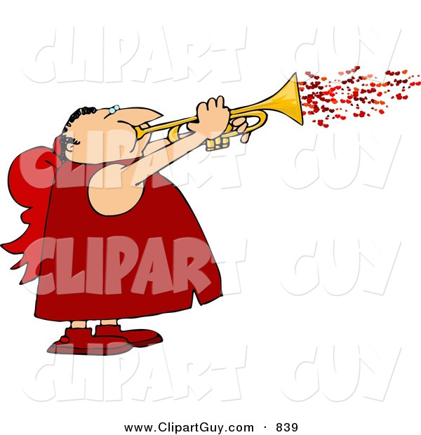 Clip Art of a Cute Man Wearing Valentine Cupid Costume and Blowing Love Hearts from a Trumpet